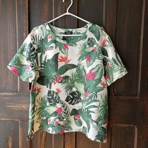 Lord & Taylor Tropical Linen Top